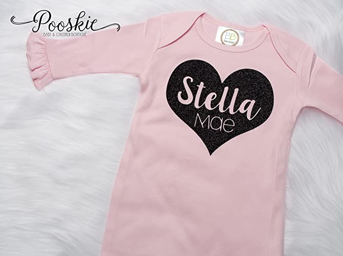 Amazon.com: Pink Personalized Baby Girl Gown and Hat, Coming Home ...