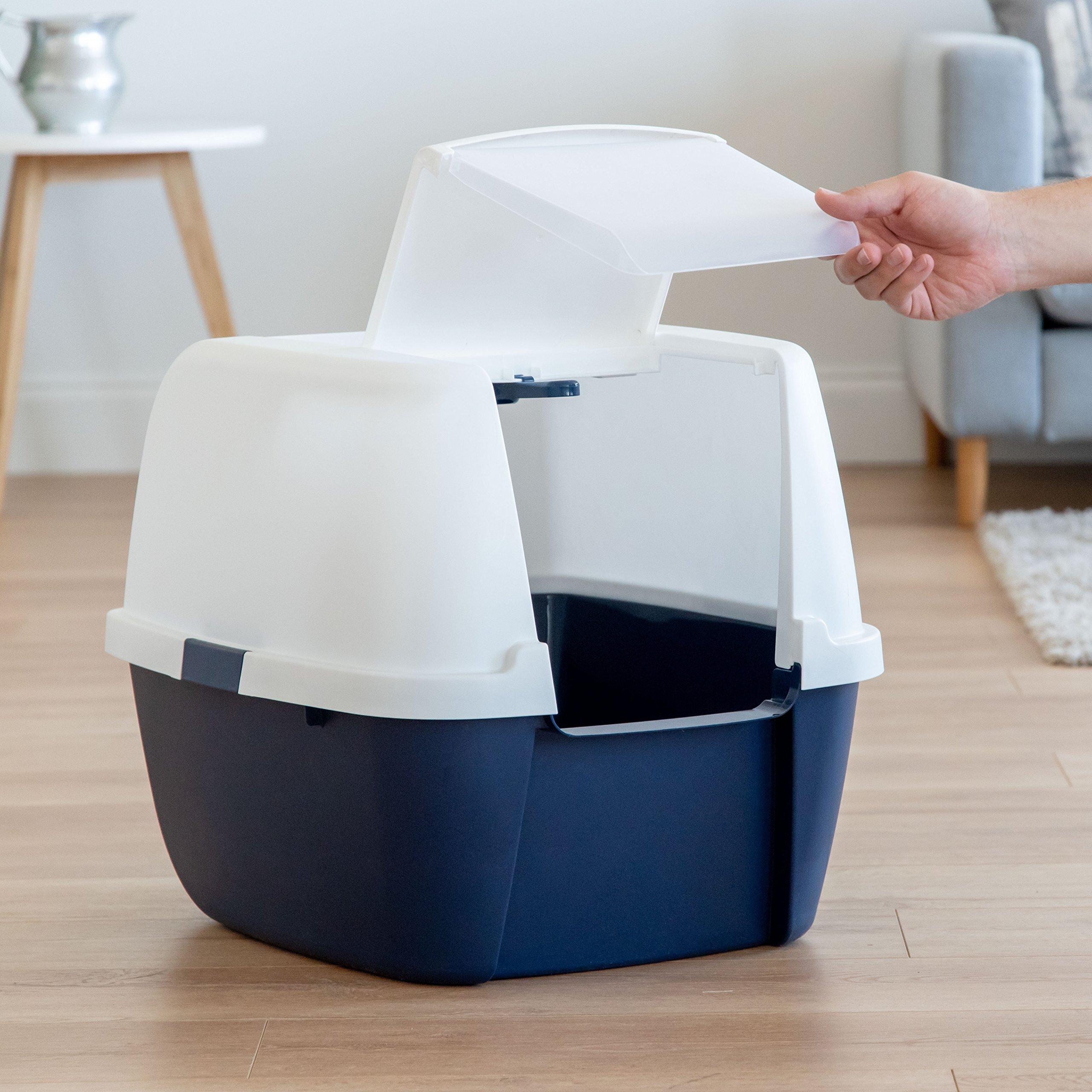 IRIS Jumbo Hooded Litter Box with Scoop, Navy by IRIS USA, Inc. (Image #4)