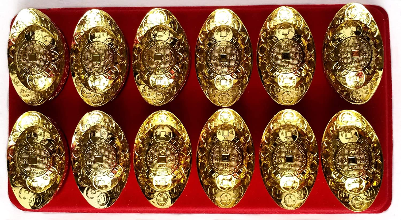with a Gift Bag Betterdecor Feng Shui Gold Ingot//Yuan Bao for Wealth Luck Home Office Decor Gift