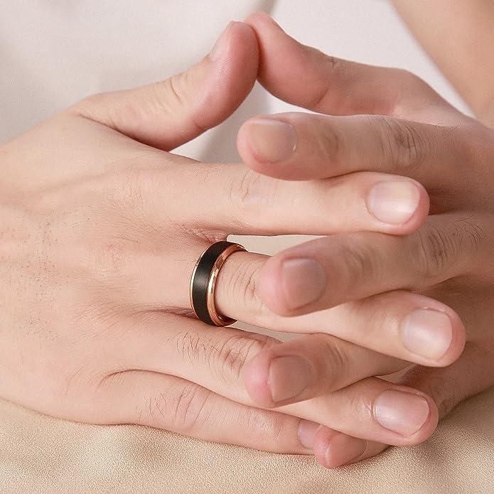 8mm Black Tungsten Wedding Band Custom Engraving Rings for women Domed Black Enameled Faceted Engagement Ring JDTR169-171-OPT