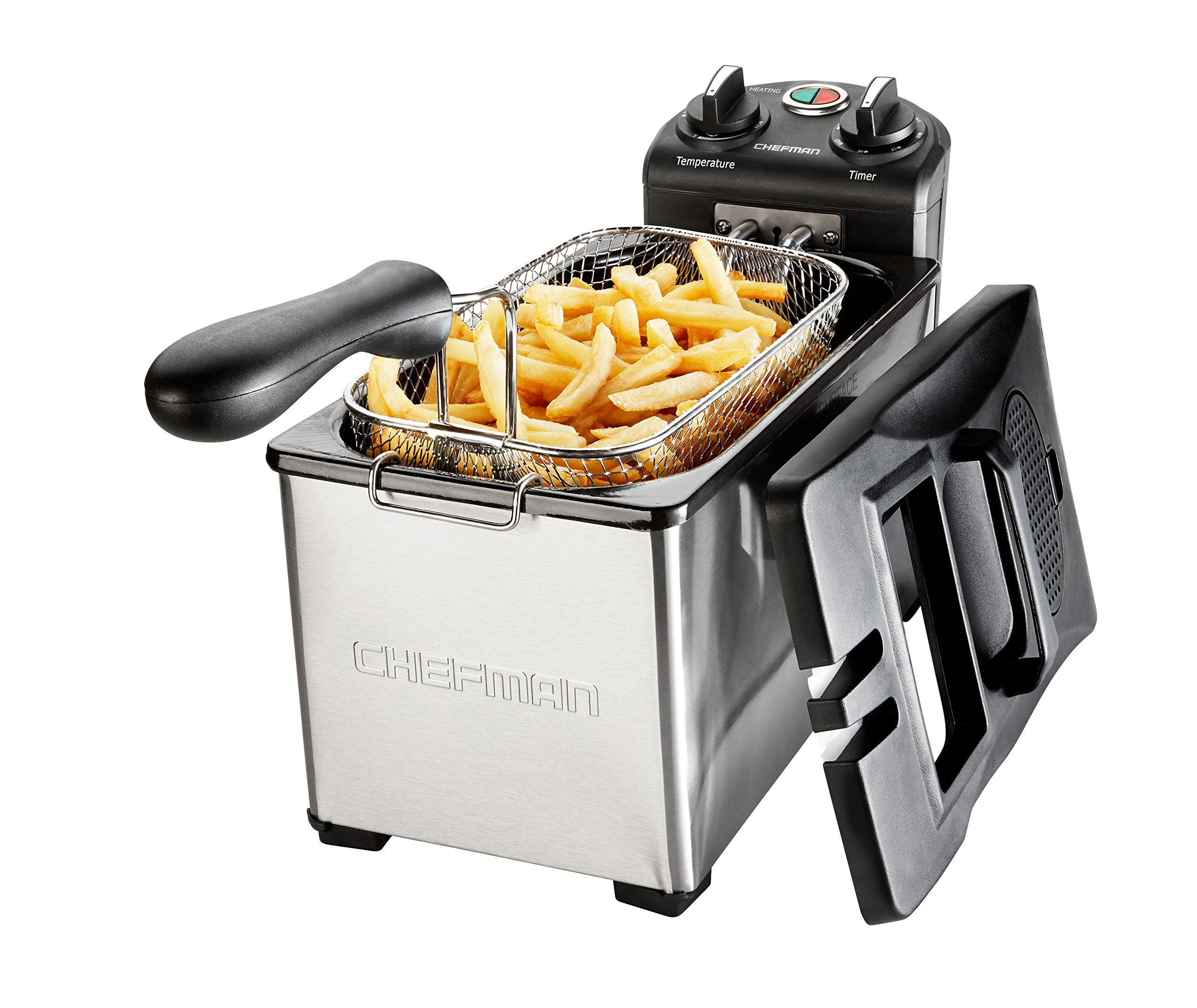 Chefman Deep Fryer 3.7 Quarts, Stainless-steel with Rotary Knob for Adjusting the Temperature, Removable Oil Container - RJ07-3SS-T by Chefman (Image #2)