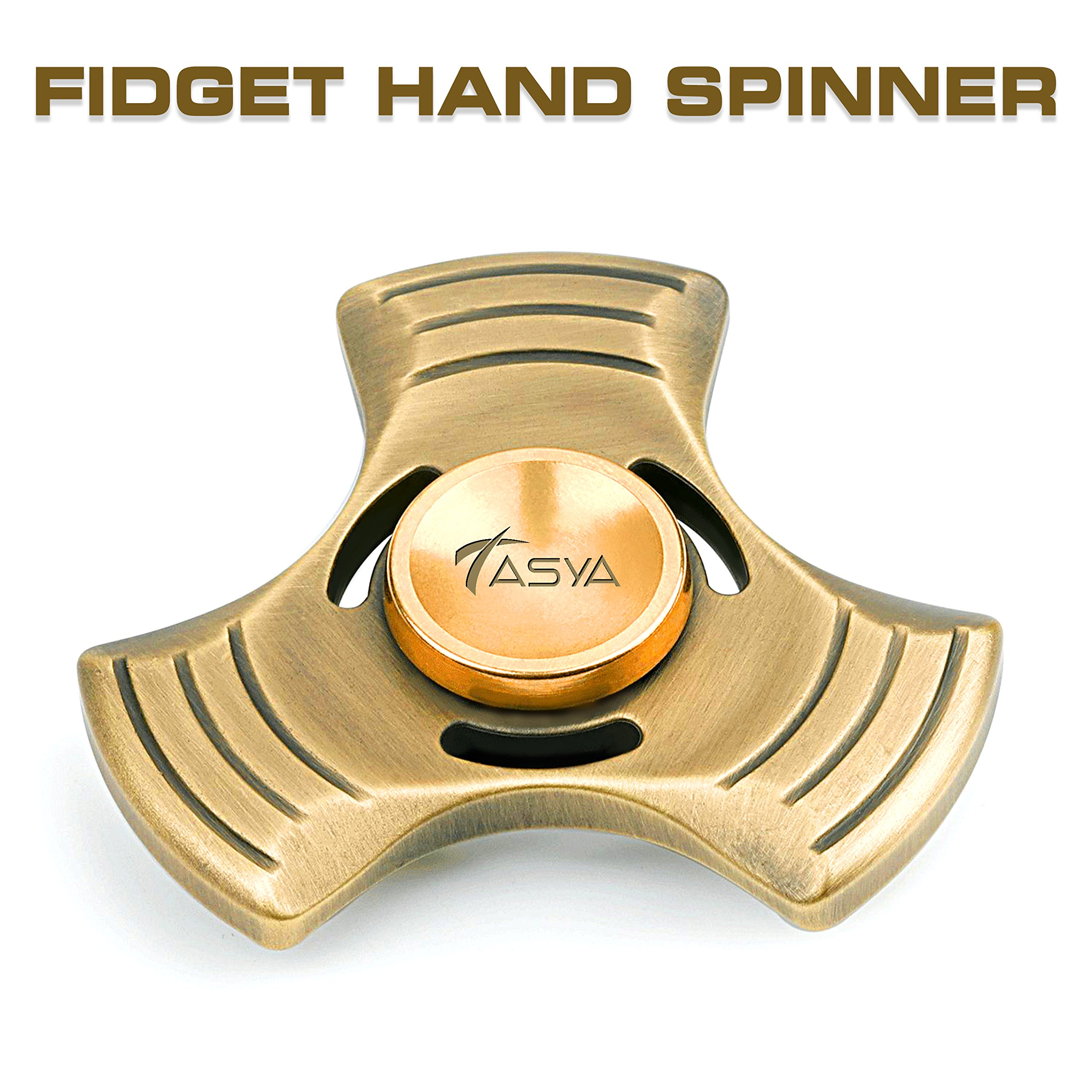 TASYA Fidget Spinner – Premium Quality Antiqued Solid Metal Spinning Fidget Toy for Kids & Adults - Relax from Stress & Anxiety - Precision Ceramic Bearings - Spins up to 6 minutes