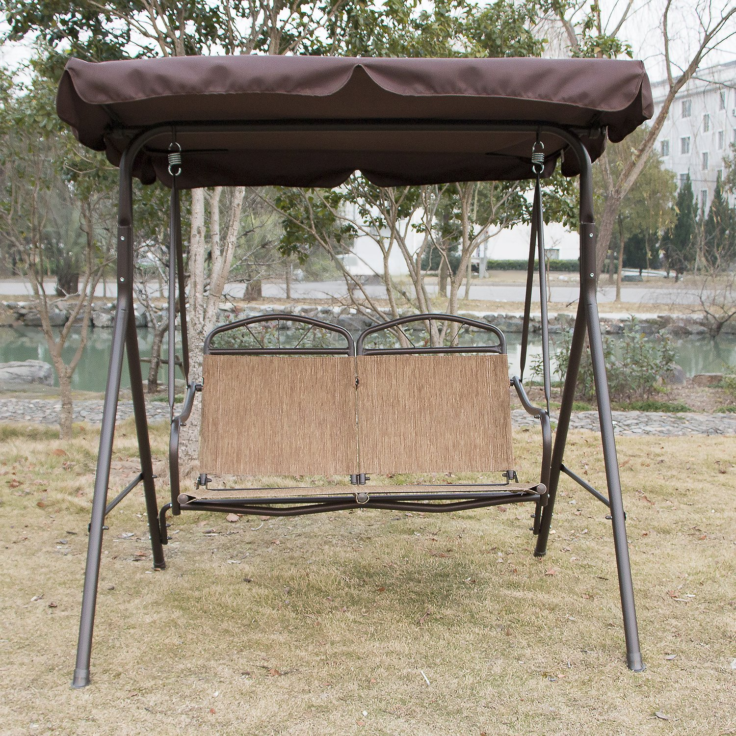 Sliverylake Outdoor 2 Person Patio Swing Hammock Chair with Canopy Awning Backyard Textilene Seat Patio Furniture