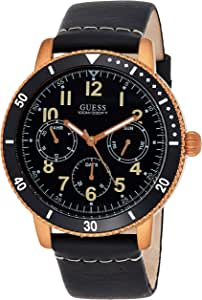 Guess Mens Quartz Watch, Analog Display and Leather Strap W1169G2