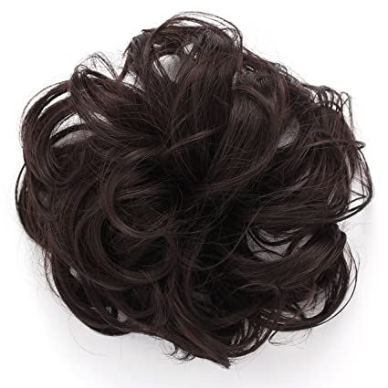 Onedor Premium Synthetic fiber Clip on Messy Chignon Bun Hair Extension  Hair Piece Wig. Silky Smooth and Secure (4#-Dark Brown)