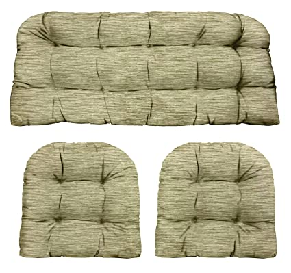 Phenomenal Rsh Decor Designer Indoor Outdoor Olefin Woven Textured Tufted Love Seat Bench U Shaped Chair Wicker Cushions Sets 2 19X19 41X19 Sage Ncnpc Chair Design For Home Ncnpcorg