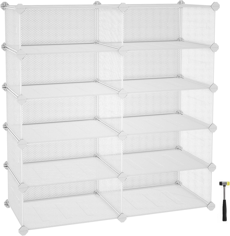 "SONGMICS 5-Tier Rack, Space Saving 20-Pair Metal Shoe Units, Cabinet Storage Organizer, Ideal for Entryway Hallway Bathroom Living Room and Corridor, 34.3""L x 12.6""W x 34.6""H White ULPL25W"