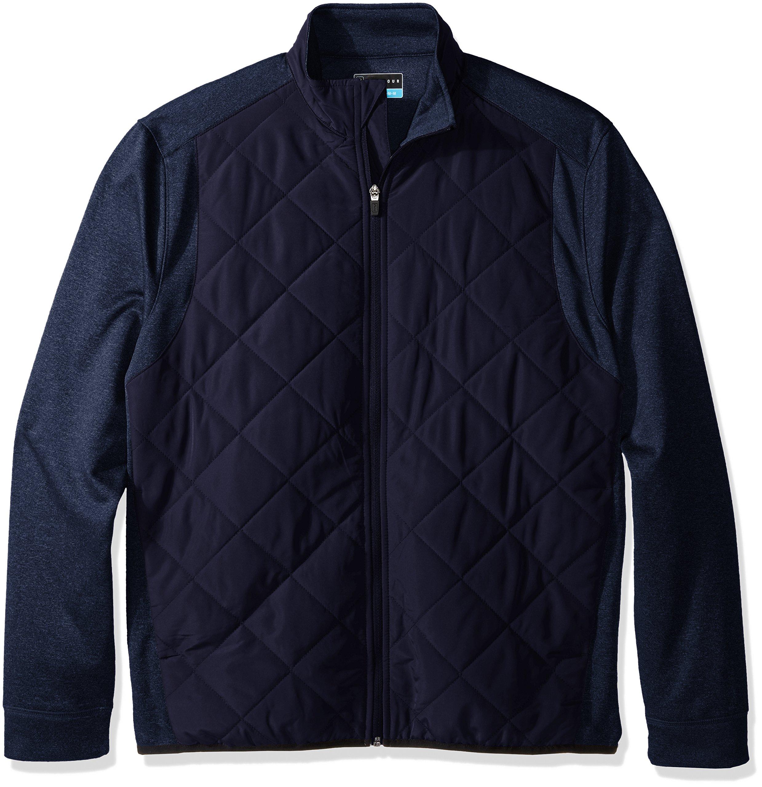PGA TOUR Men's Elements Long Sleeve Full Zip Quilted Mixed Media Jacket, Peacoat, XL