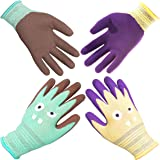 COOLJOB 2 Pairs Kids Gardening Gloves for Ages 2-12, Comfortable Rubber Coated Work Gloves for Kids, Gift Set for Boys & Girl