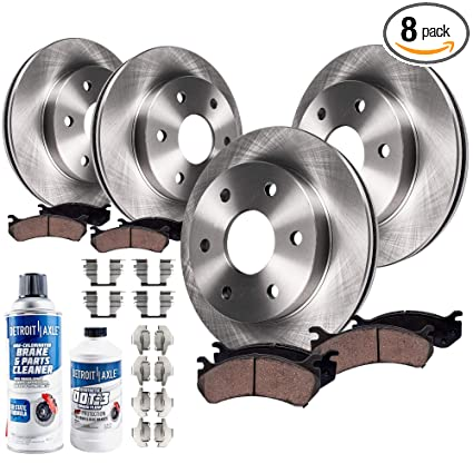 Detroit Axle - 305mm FRONT & 324mm REAR Brake Rotors & Ceramic Brake Pads  w/Hardware, Brake Fluid & Cleaner for 5-Passenger V6 Chevy Trailblazer &  GMC