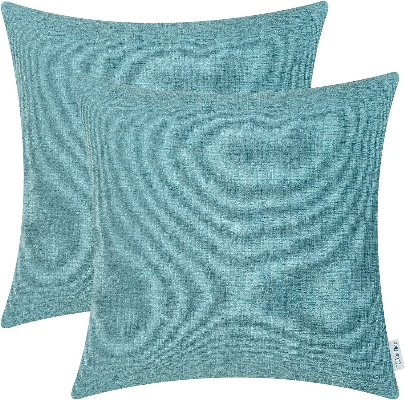 CaliTime Pack of 2 Cozy Throw Pillow Covers Cases for Couch Sofa Home Decoration Solid Dyed Soft Chenille 22 X 22 Inches Teal