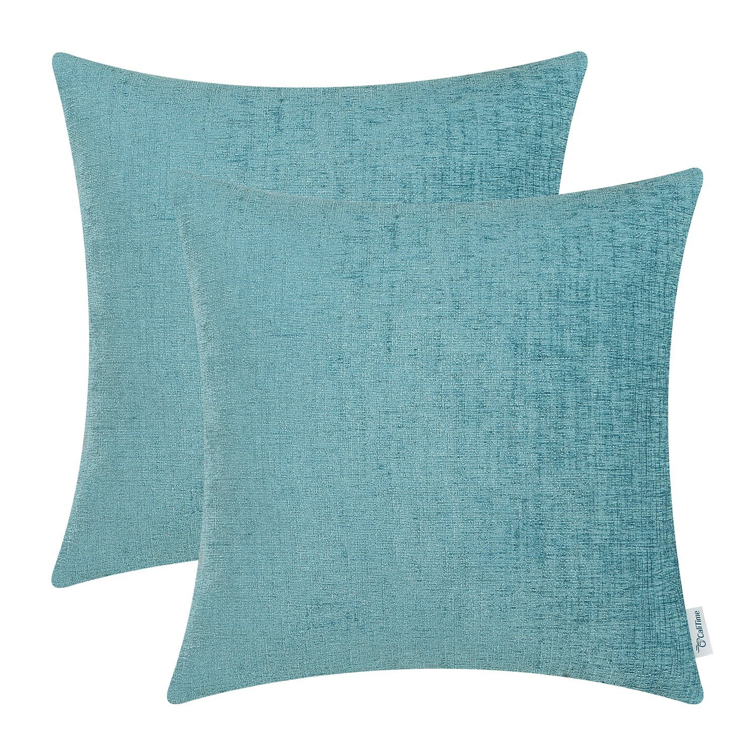 CaliTime Pack of 2 Cozy Throw Pillow Covers Cases for Couch Sofa Home Decoration Solid Dyed Soft Chenille 16 X 16 Inches Teal