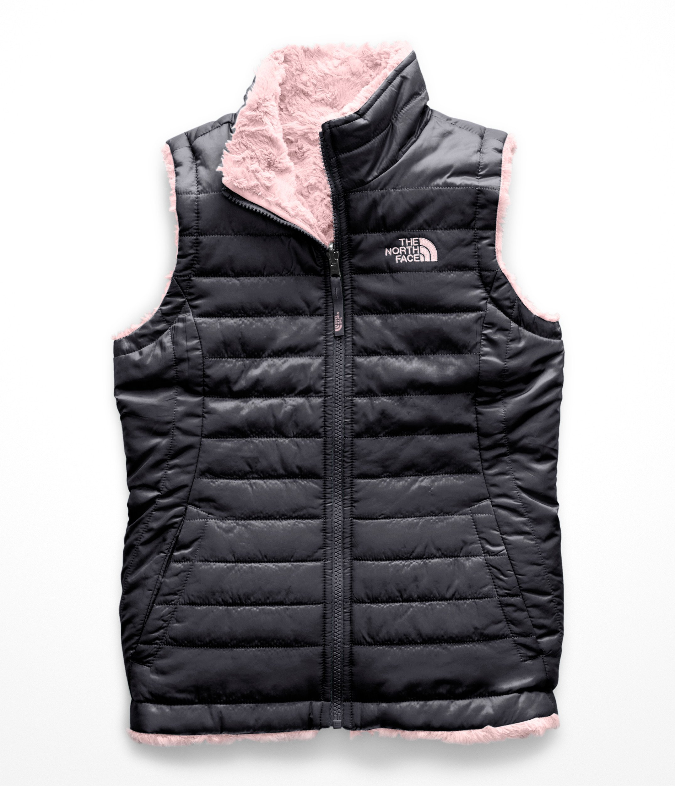 The North Face Girl's Reversible Mossbud Swirl Vest - Periscope Grey - L