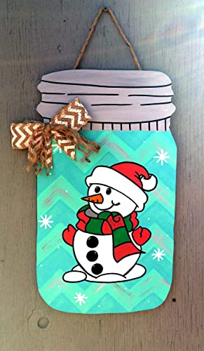 Amazon.com: Wooden Christmas Door Hanger - Snowman Door Hanger ...