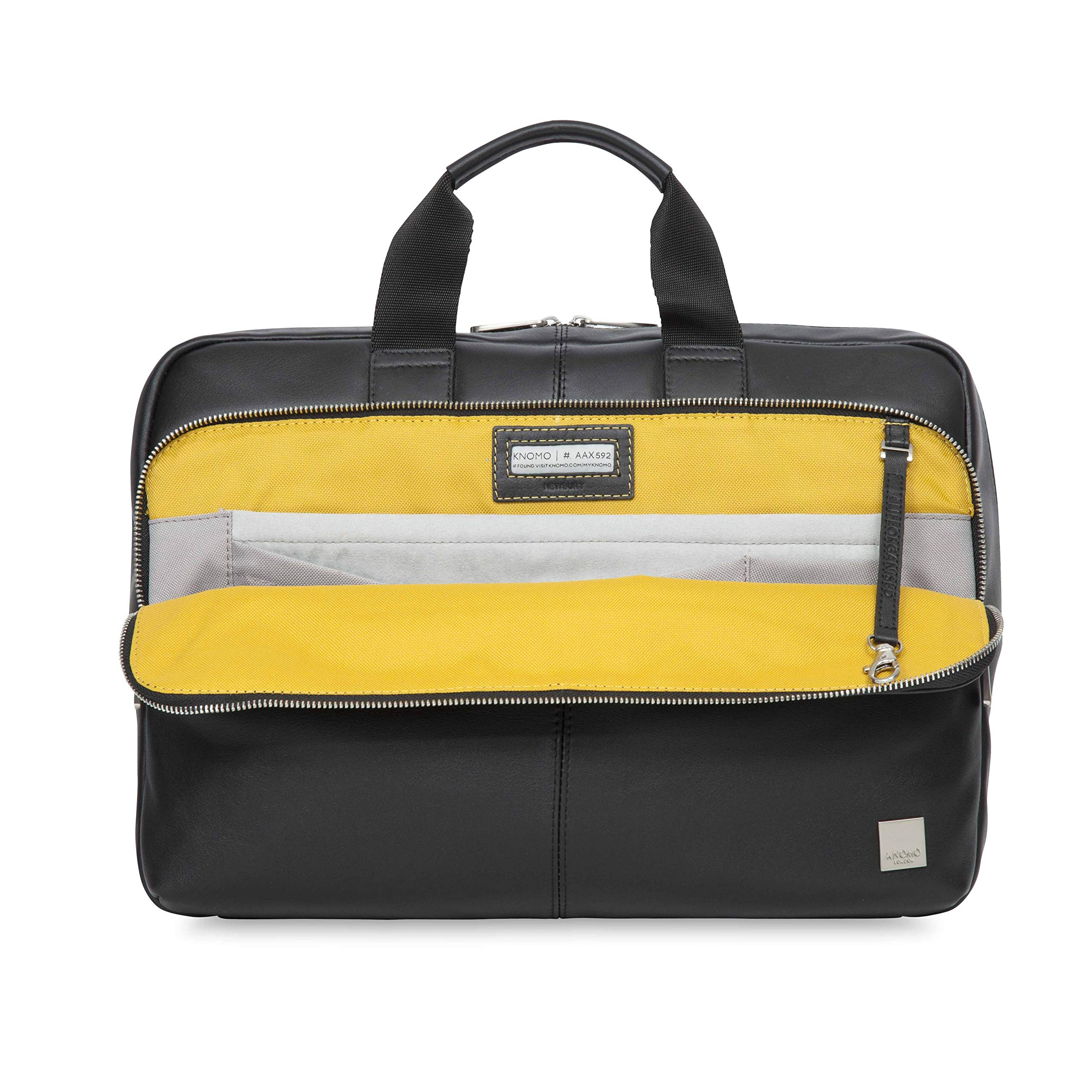 Knomo Luggage Men's Knomo Brompton Classic Newbury Full Leather Single Zip Brief 15''-Black Briefcase One Size