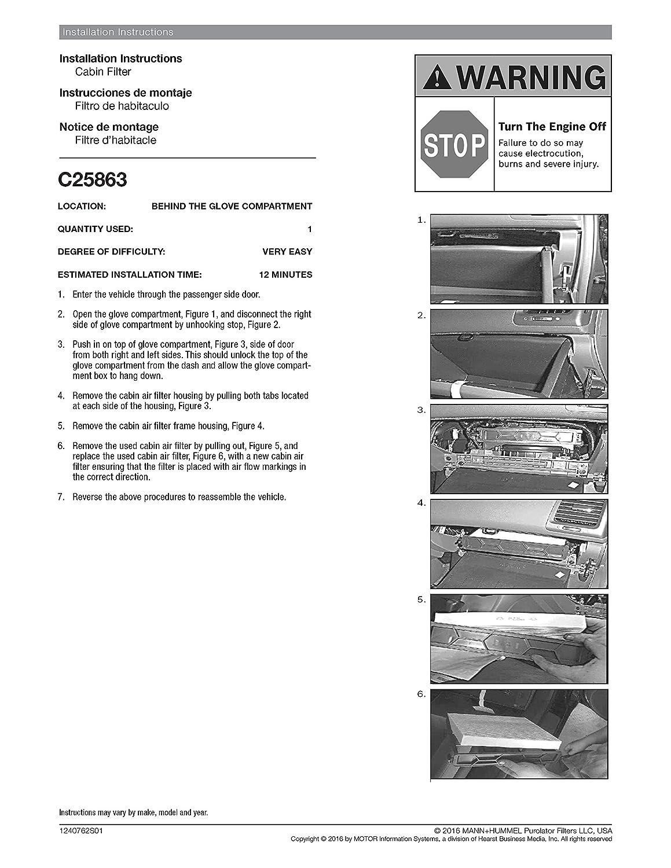 Purolator C25863 Purolatorone Cabin Air Filter Automotive 1981 Subaru Gl Fuel Location