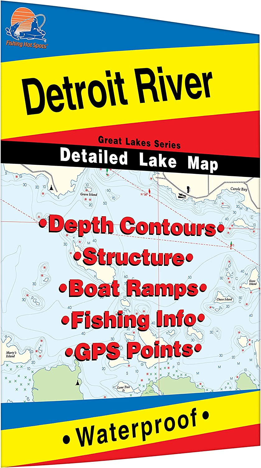 detroit river fishing map Amazon Com Detroit River Fishing Map Sports Outdoors detroit river fishing map