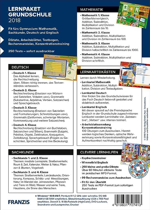 FRANZIS Lernpaket Grundschule (2018), Deutsch/Englisch/Mathe, E ...