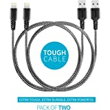 Mivi Nylon Braided MFi Certified Tough Lightning Cable for iPhone iPad iPod with Super Fast Charging Up-to 2.4 Amps (1m, Black) - Pack of 2