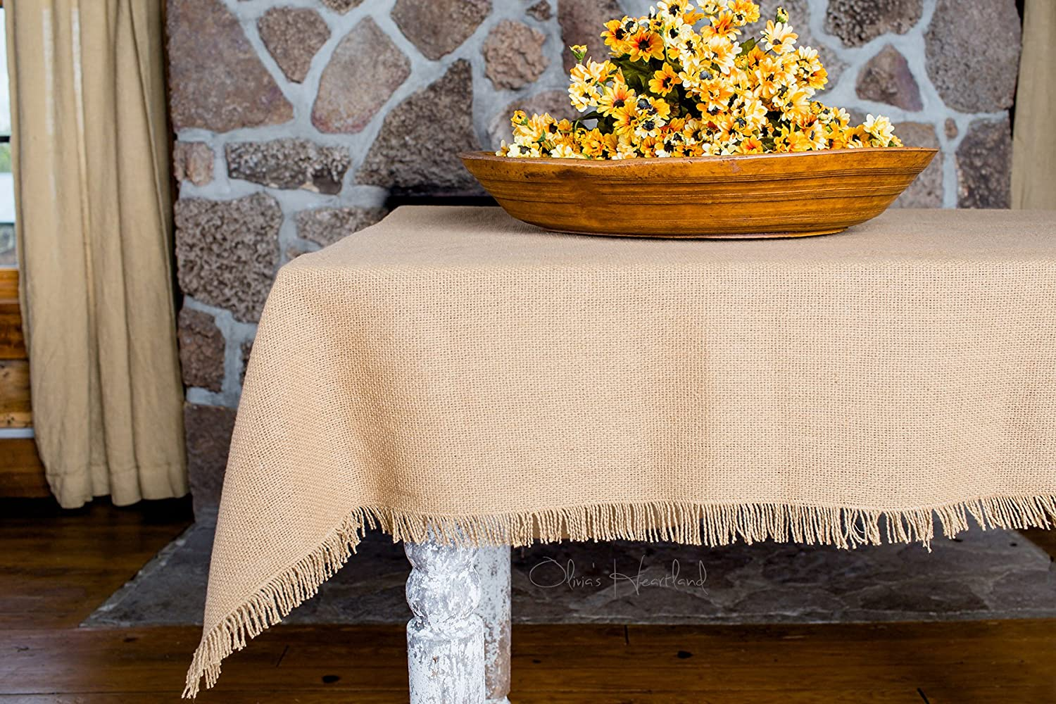 Christmas Tablescape Décor - Natural tan handmade fringed machine washable 100% cotton burlap tablecloth