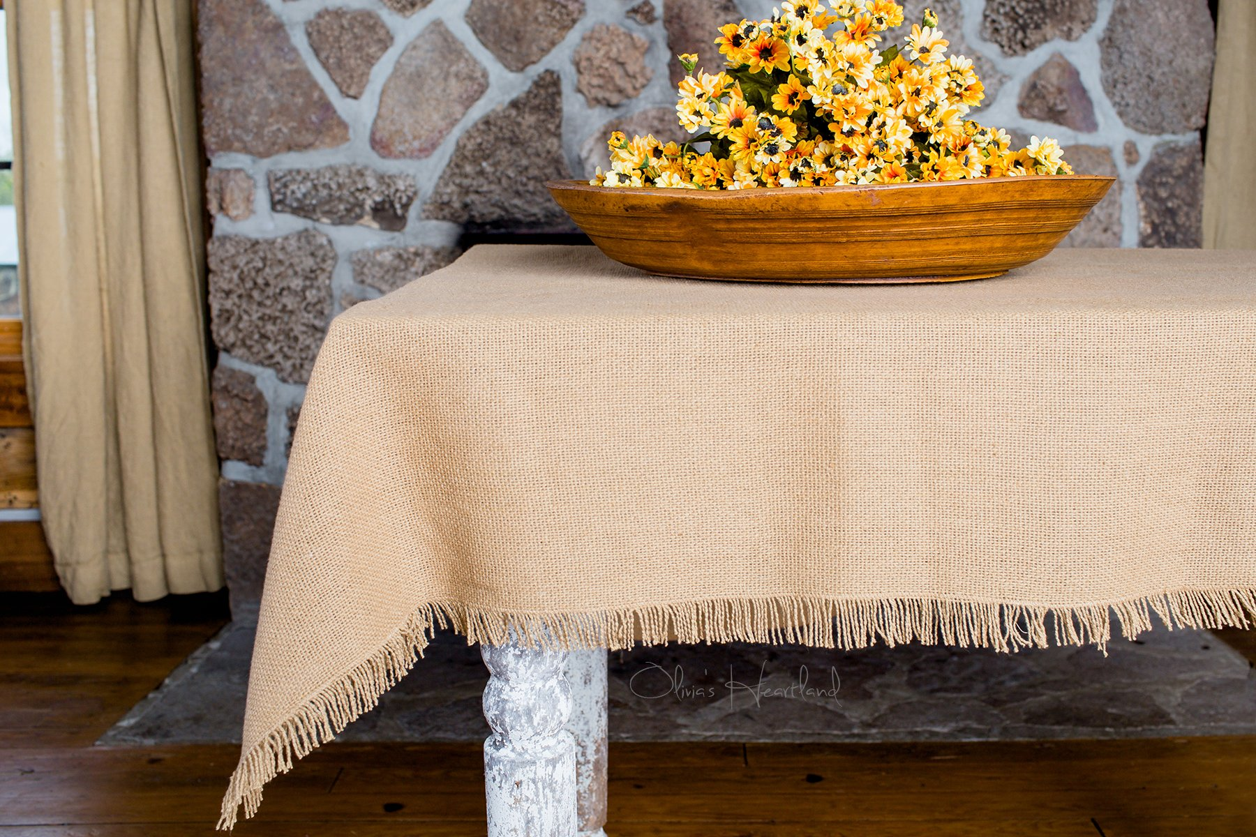 Deluxe Burlap Natural Tan Table Cloth - 60x80'' Tablecloth by Olivia's Heartland