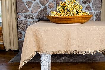 Deluxe Burlap Natural Tan Table Cloth   60x80u0026quot; Tablecloth