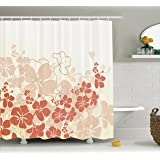 Ambesonne Hawaiian Shower Curtain Hawaii Flowers Silhouette Tropical Plants Ornamental Floral Illustration Fabric Bathroom