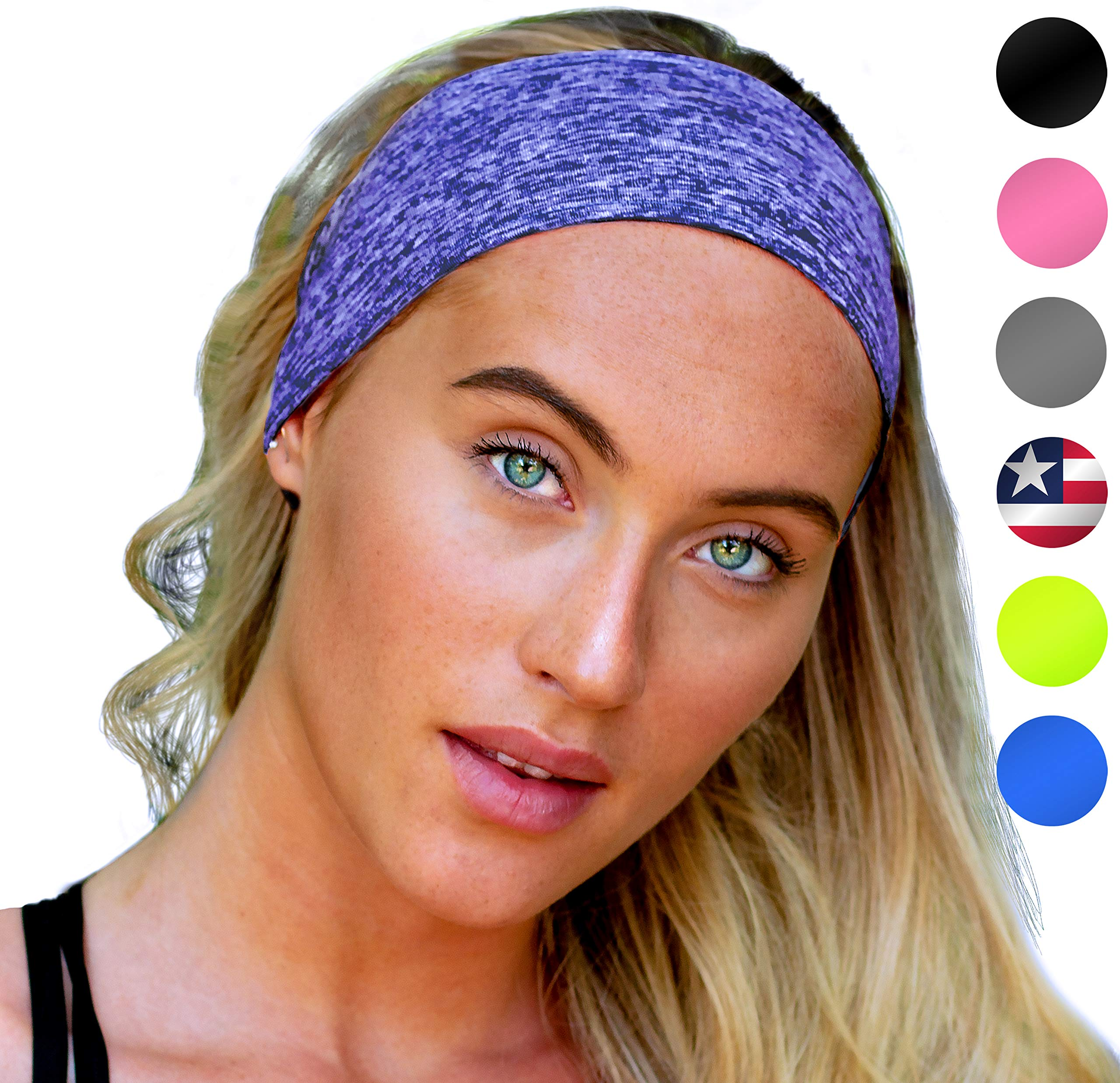 Sports Headband: UNISEX Fitness Headbands For Women & Men. Blue Head Band Sweatband for Running, Yoga, Workout Gym Exercise. NO SLIP Sport Sweatbands & Sweat Wicking Athletic Head Wrap Bands Over Hair by E Tronic Edge