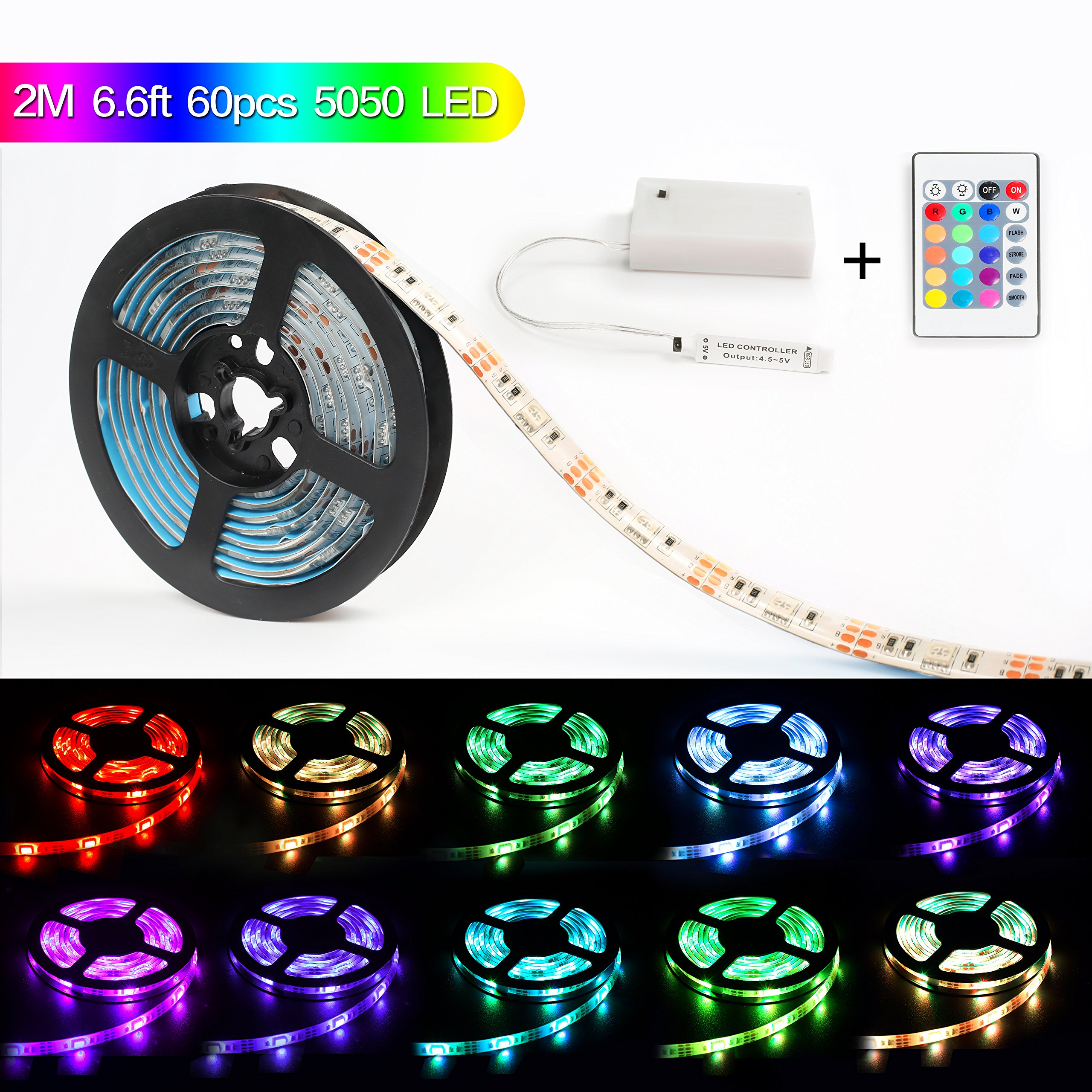 Led Light Strip Battery Powered,MEILLY RGB 2M / 6.6FT 60pcs 5050 Leds Strip Light IP65 Waterproof Flexible Rope Lights, Color Changing Strip Lightings with 24 Key Remote Control ( Blue Green Red)