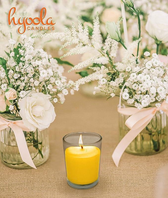Parfum Frais Naturel D/écoration int/érieure et ext/érieure et Anti-moustiques Hyoola Bougie parfum/ée /à la citronnelle dans Une Tasse en Verre 12 Heures de Combustion Jaune
