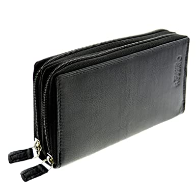 1409bf050c030a flevado Xl Portemonnaie Große Damen Nappa Vintage Leder Geldbörse mit RFID  in Schwarz mit viel Stauraum