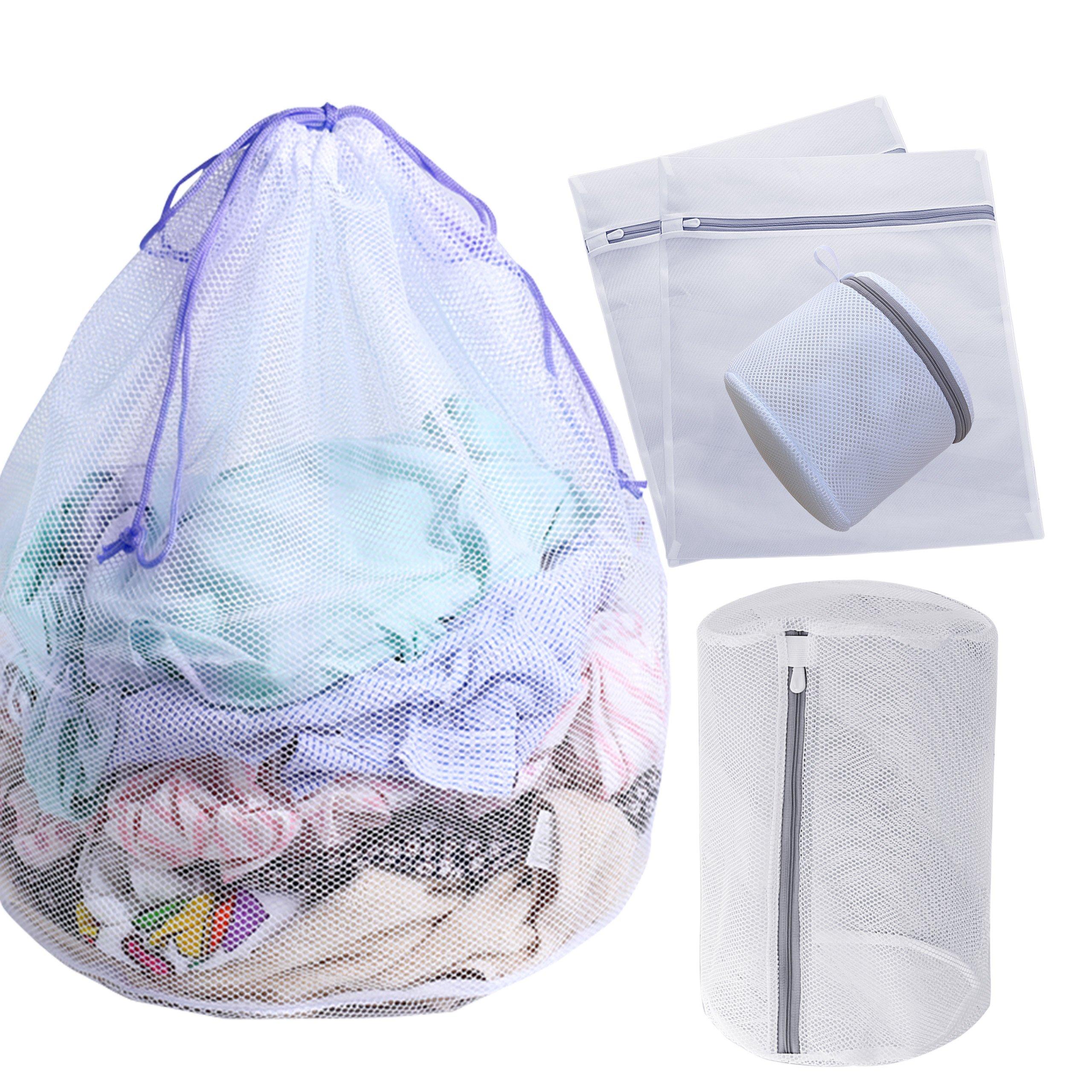 Set of 5 Mesh Laundry Bags-1 Jumbo, 2 Large, 1 Medium and 1 Mini Laundry Wash Bags for Coat, Jackets, Sweaters, Undies, Bras, Children Socks,Blouse, Hosiery, Lingerie (Jumbo Size Looser Mesh)