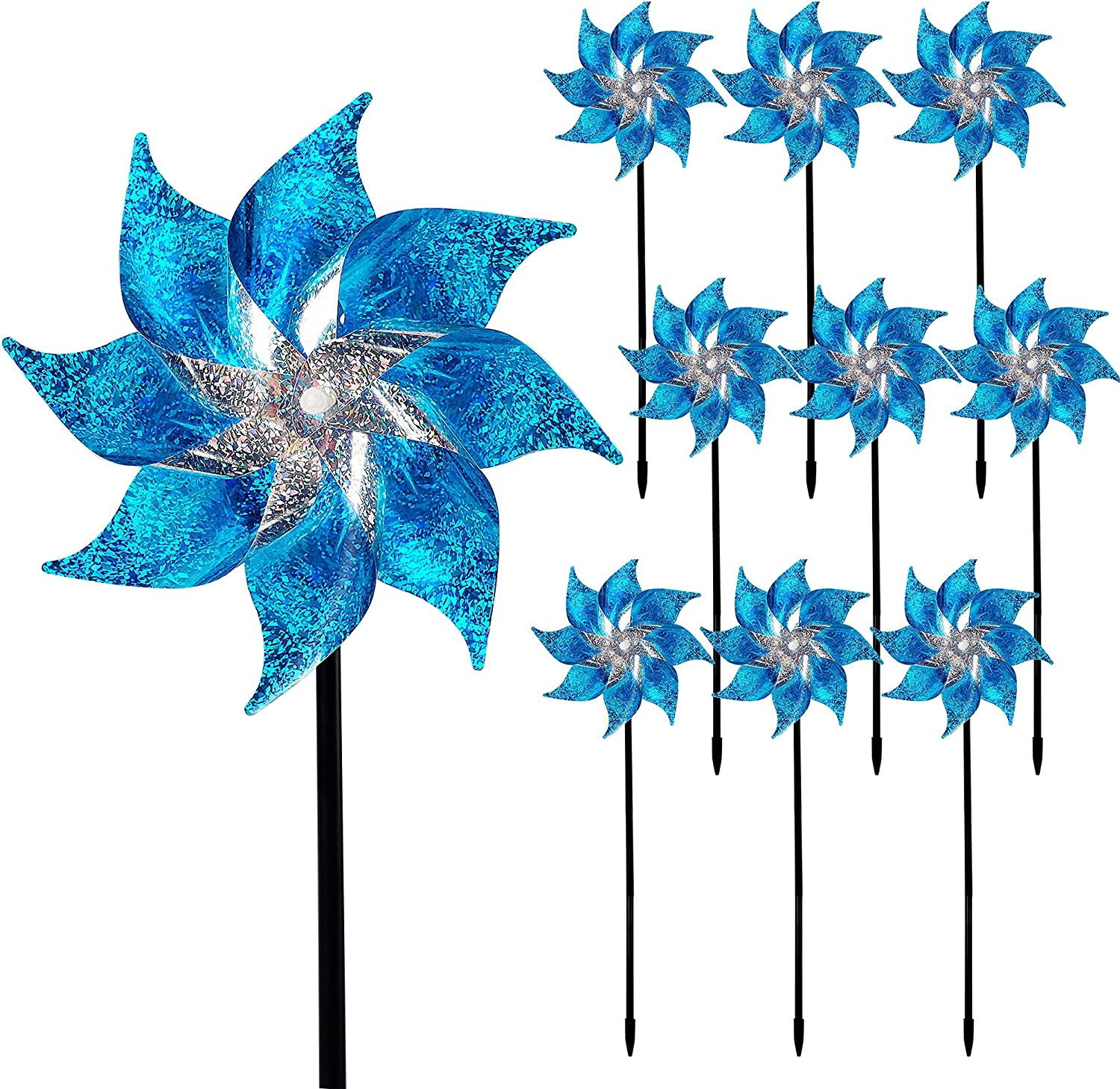 Hausse 10 Pack Reflective Pinwheels with Stakes, Extra Sparkly Pin Wheel for Garden Decor, Bird Repellent Devices Deterrent to Scare Birds Away from Yard Patio Farm, Blue