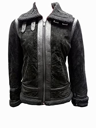 Jones New York Leather Jacket with Faux Fur Interior-Black-L at ...