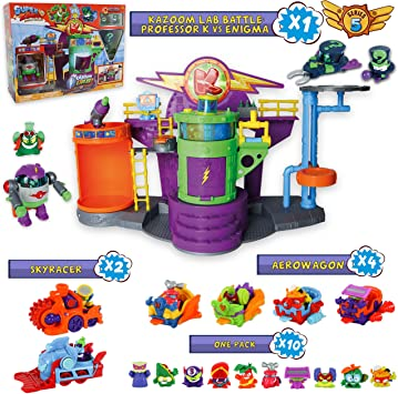 SuperZings Serie 5 - Kazoom Lab Battle y Pack Sorpresa con 16 Sets | Contiene Juguete Kazoom