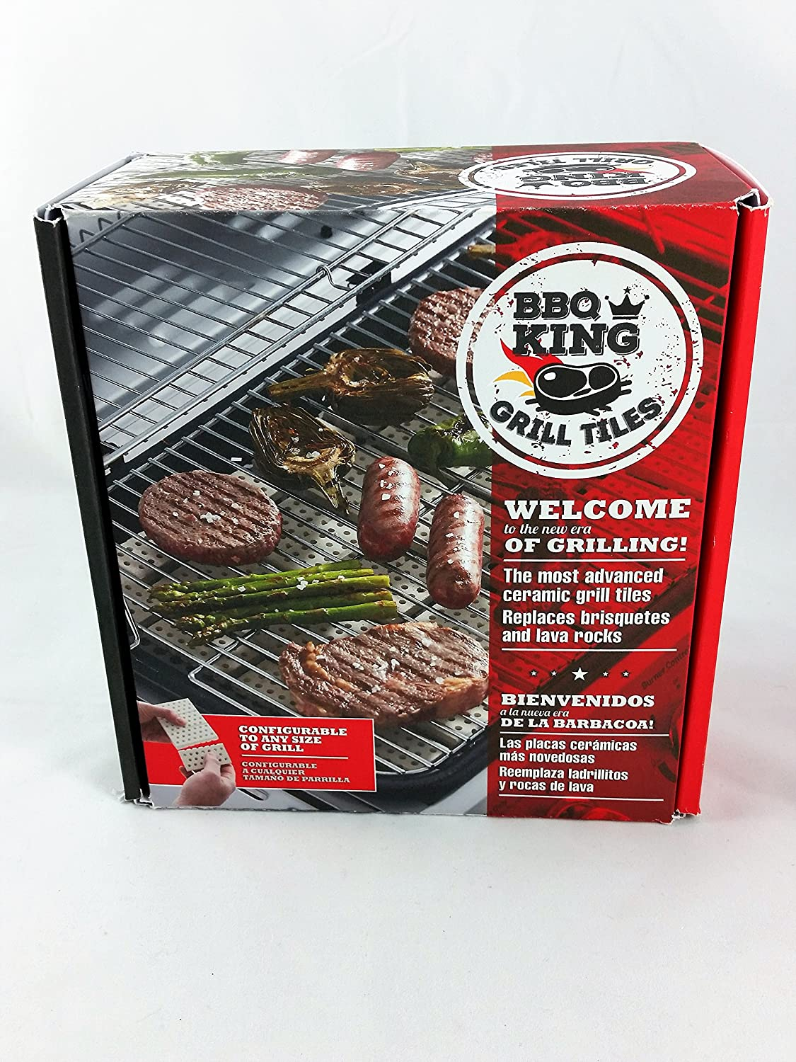 BBQ King Grill Ceramic Tiles Replace Lava Rock and Briquettes - Cover 270 Square inches of Grill Area - Adaptable to Any Grill Size