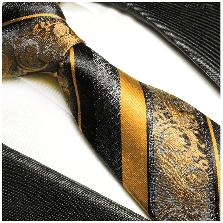 Seiden-Einstecktuch Paul Malone Gold schwarz gestreiftes Krawatten Set 100/% Seidenkrawatte