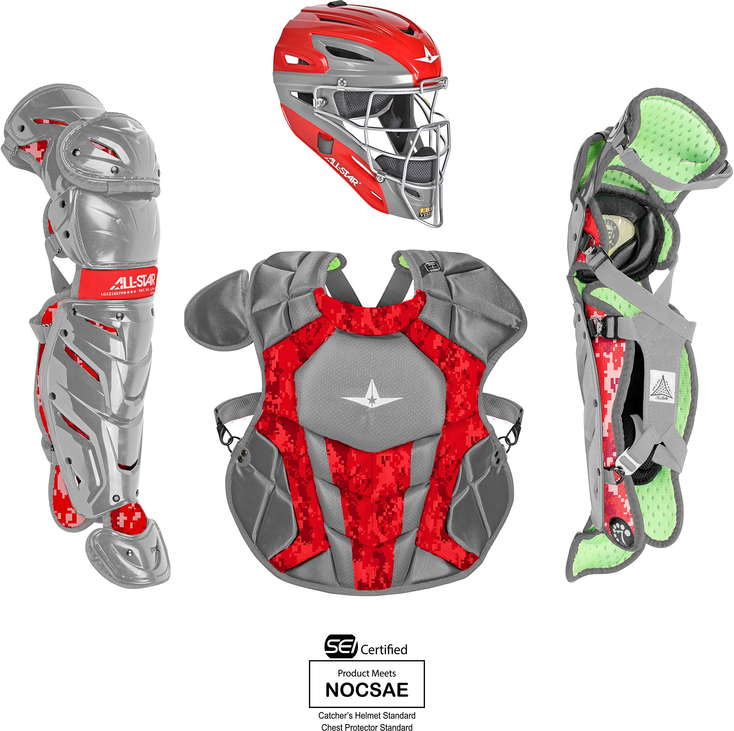 All-Star System7 Axis Camo Pro Intermediate Catchers Set Grey/Scarlet by All-Star