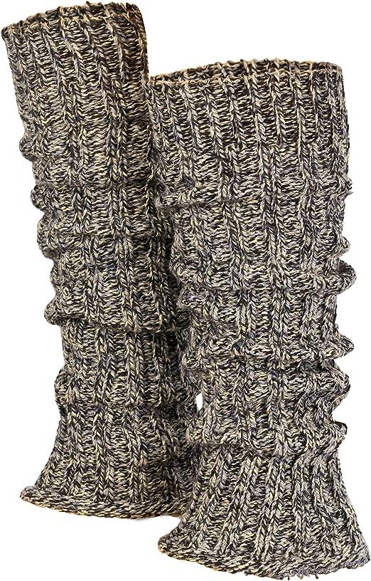 Piarini 1 paire de jambi/ères /à rayures pour femme noir//blanc Jambi/ères chaudes en tricot Laine en gris//blanc taille unique