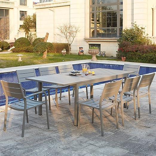 Concept-Usine Mezzane : table de jardin extensible 8 personnes avec 2  fauteuils et 6 chaises en aluminium
