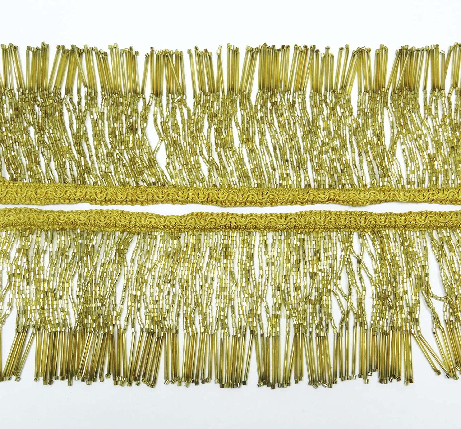 Knitwit Gold Beaded Fringe Decorative Upholstery Ribbon Curtain Craft Supplies 3 Yards