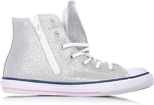 CONVERSE Zapatilla deportiva plateada con cordones, en glitter, cremallera lateral, Niñas, Niña.