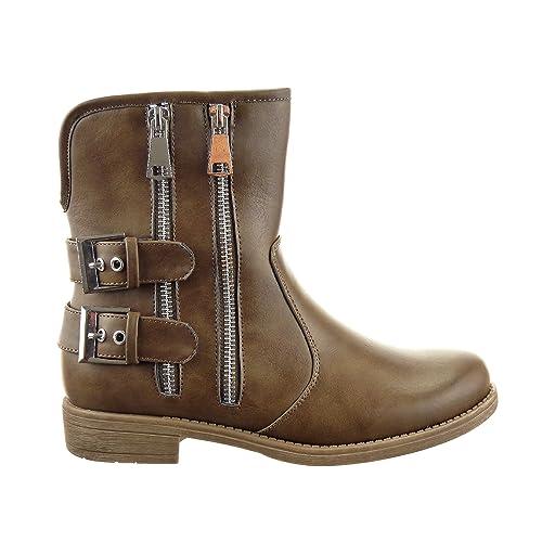 Sopily - Zapatillas de Moda Botines Botas militares Low boots Media pierna mujer Hebilla Cremallera Talón