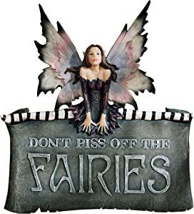 Design Toscano CL6564 Don't Piss Off The Fairies Wall Sculpture Plaque Sign, Full Color