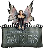 Design Toscano Don't Piss Off the Fairies Wall Sculpture Plaque Sign, Polyresin, Full Colour, 28 cm