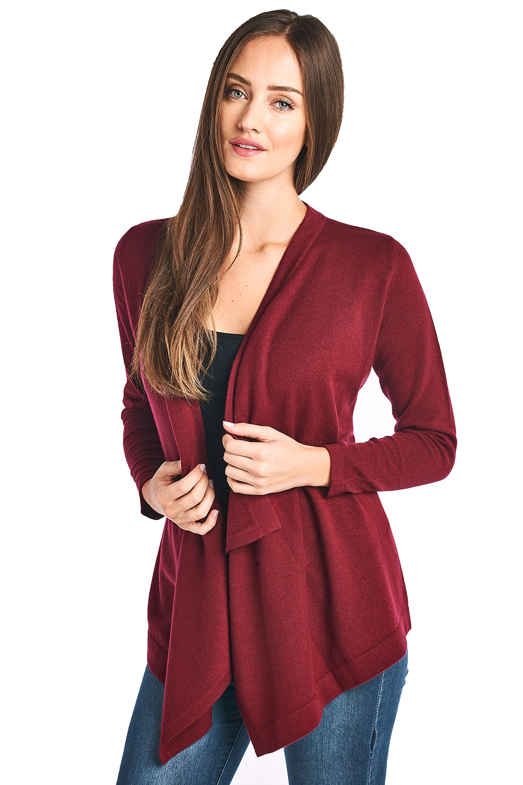 High Style Women's 100% Cashmere Long Sleeve Drape Front Asym Hem Open Cardigan Sweater (17619, Burgundy, L)