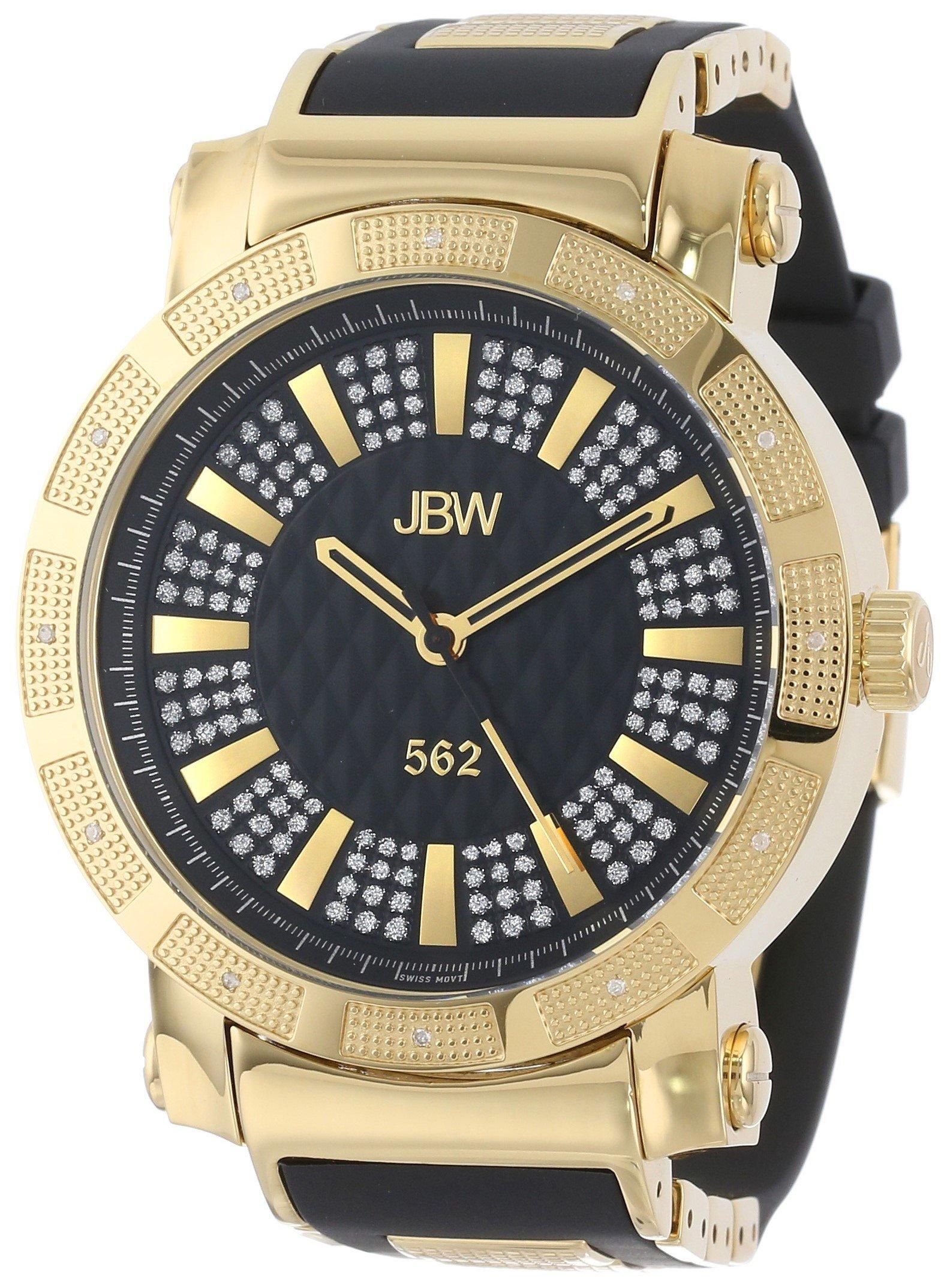 """Jbw Men's Jb-6225-J """"562"""" Pave Dial Diamond Black Rubber Band Watch 10"""