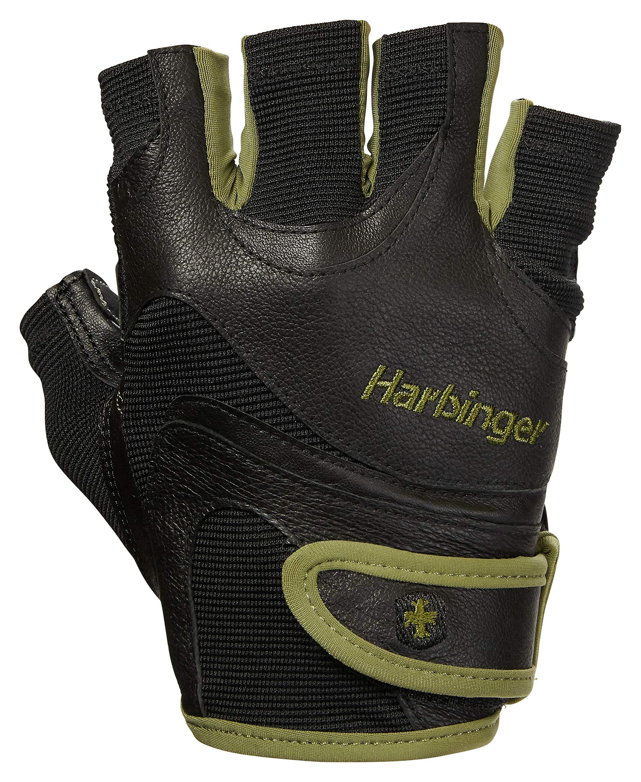 Harbinger FlexFit Non-Wristwrap Weightlifting Gloves with Flexible Cushioned Leather Palm (Pair), Green, Medium by Harbinger