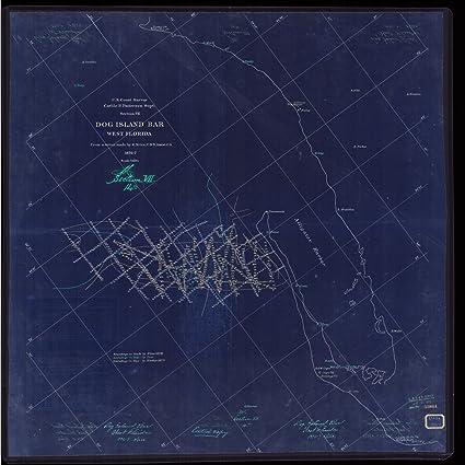 Dog Island Florida Map.Amazon Com Vintography 18 X 24 Reprinted Blueprint Style Nautical