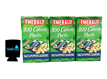 Emerald Salt & Pepper Cashews 100 Calorie Packages (Pack of 3) with bonus can